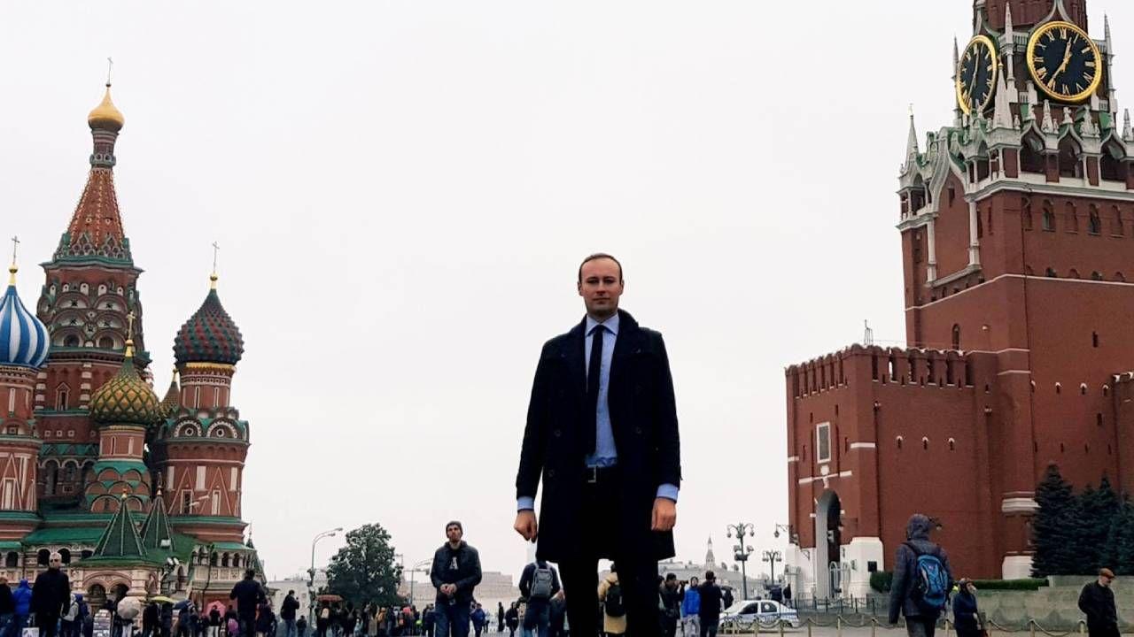 Bartosz Bekier na Placu Czerwonym w Moskwie (fot. FB/Bartosz Bekier)