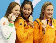 Srebro w wyścigu na 50 metrów stylem dowolnym kobiet zdobyła Białorusinka Aliaksandra Hierasimienia (fot. PAP/EPA)