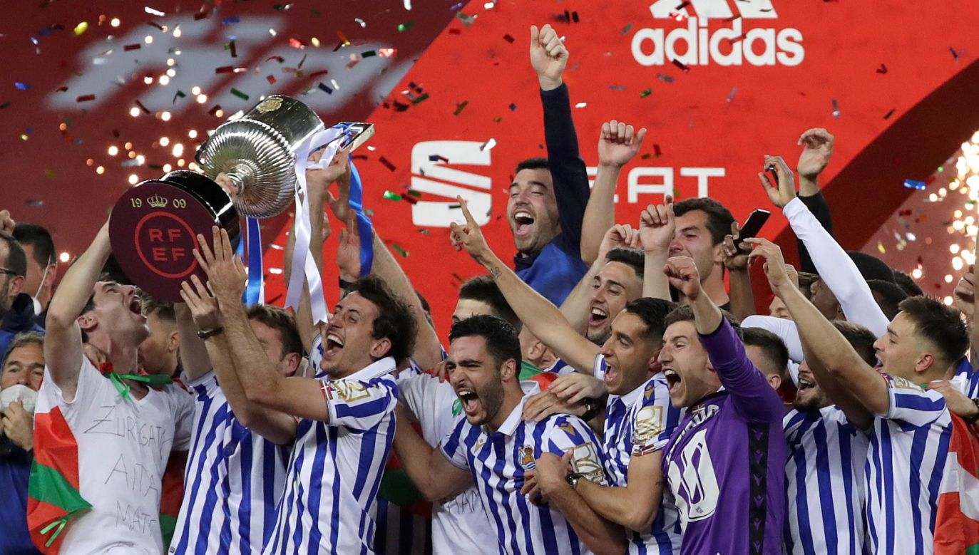 Piłkarze Realu Sociedad San Sebastian zdobyli Puchar Króla Hiszpanii za 2020 rok (fot. PAP/EPA)