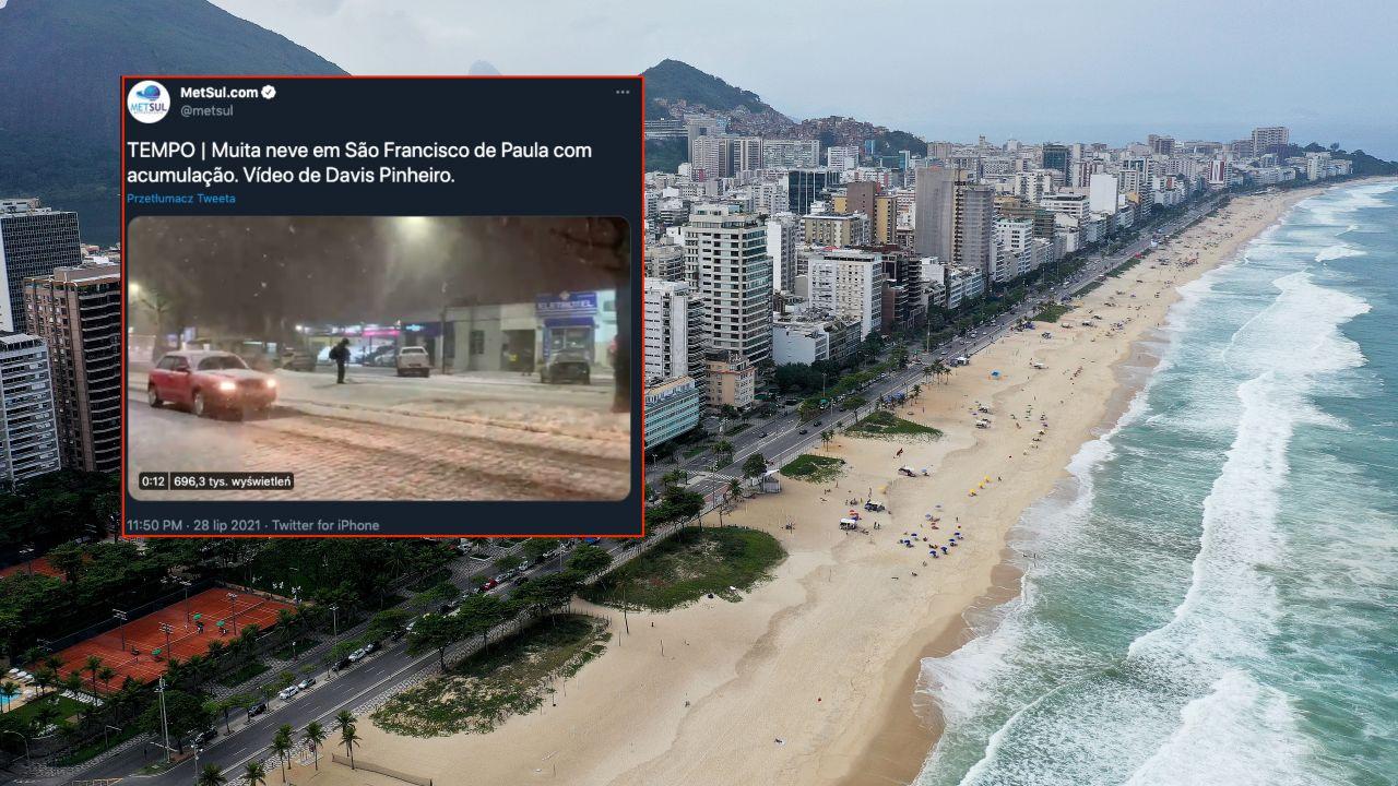 Śnieg w Brazylii to niezwykła rzadkość (fot. Mario Tama/Getty Images, twitter.com/metsul)