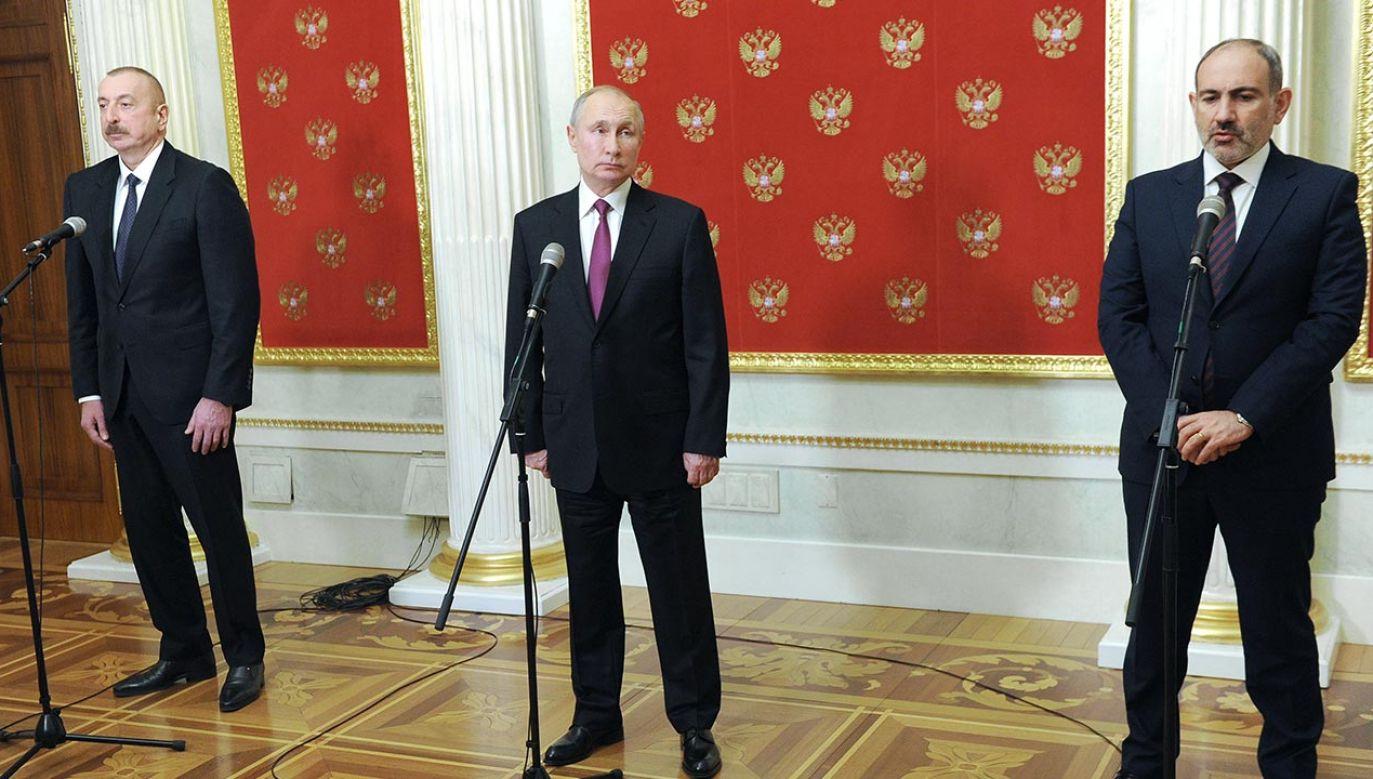 W Moskwie odbyło się pierwsze spotkanie  od zakończenia wojny w Górskim Karabachu (fot. Mikhail Klimentyev\TASS via Getty Images)