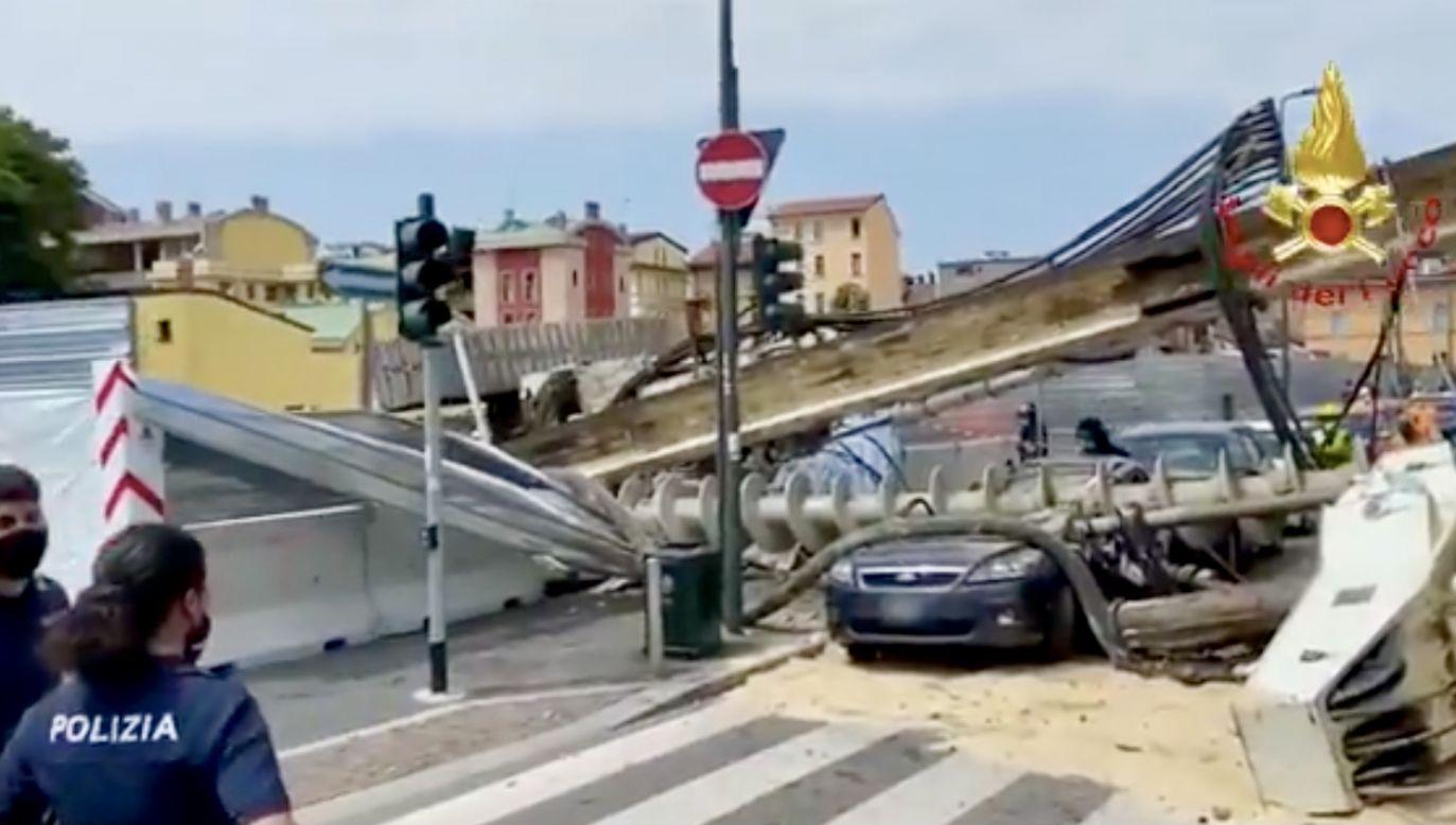 Wypadek na placu budowy w Mediolanie (fot. tt/Vigili del Fuoco)
