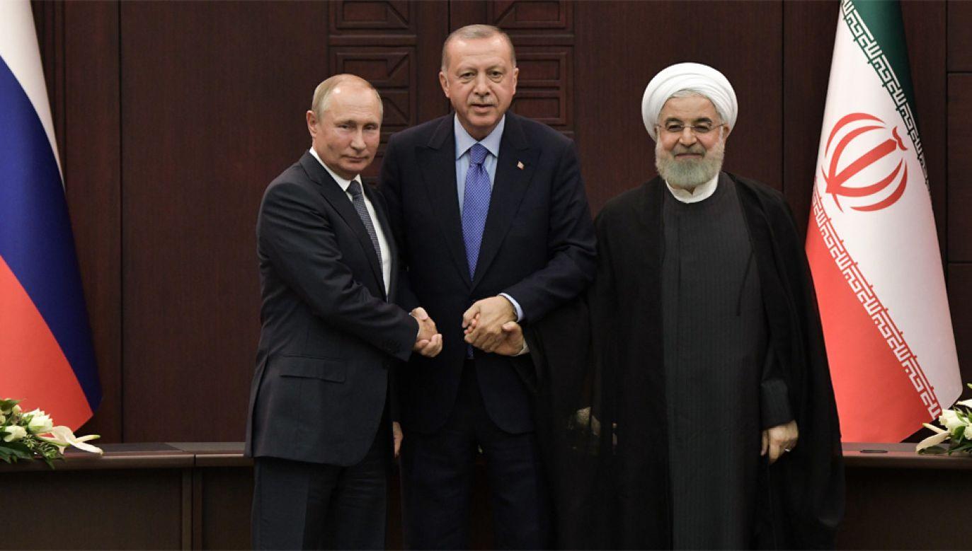 W szczycie w Ankarze wzięli udział Władimir Putin, Recep Tayyip Erdogan i Hasan Rowhani (fot. PAP/EPA/ALEXEY NIKOLSKY / SPUTNIK / KREMLIN POOL)