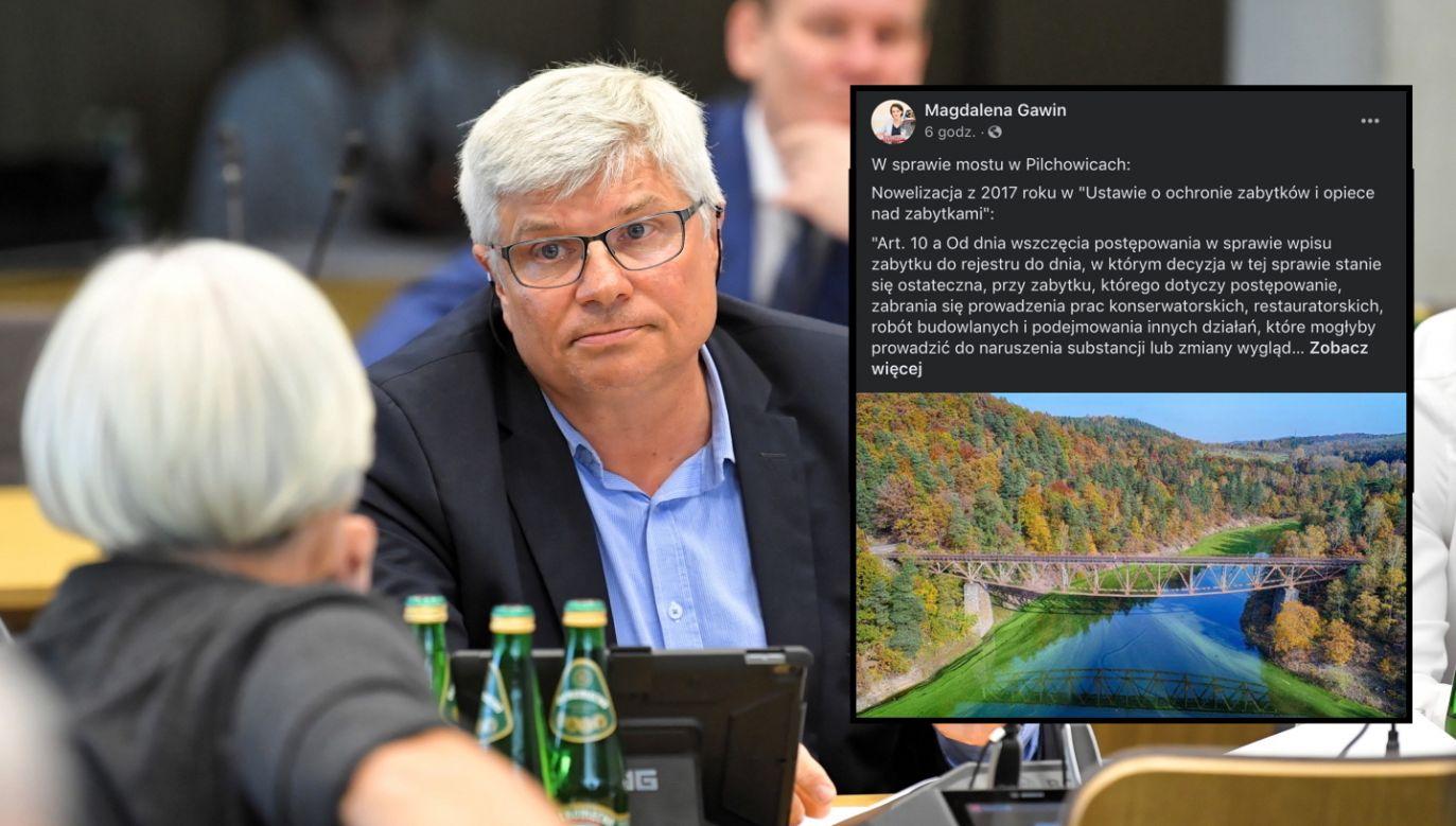 Maciej Lasek (PO) alarmuje o planach wysadzenia mostu (fot. PAP/Radek Pietruszka, Facebook.com/MagdalenaGawin)