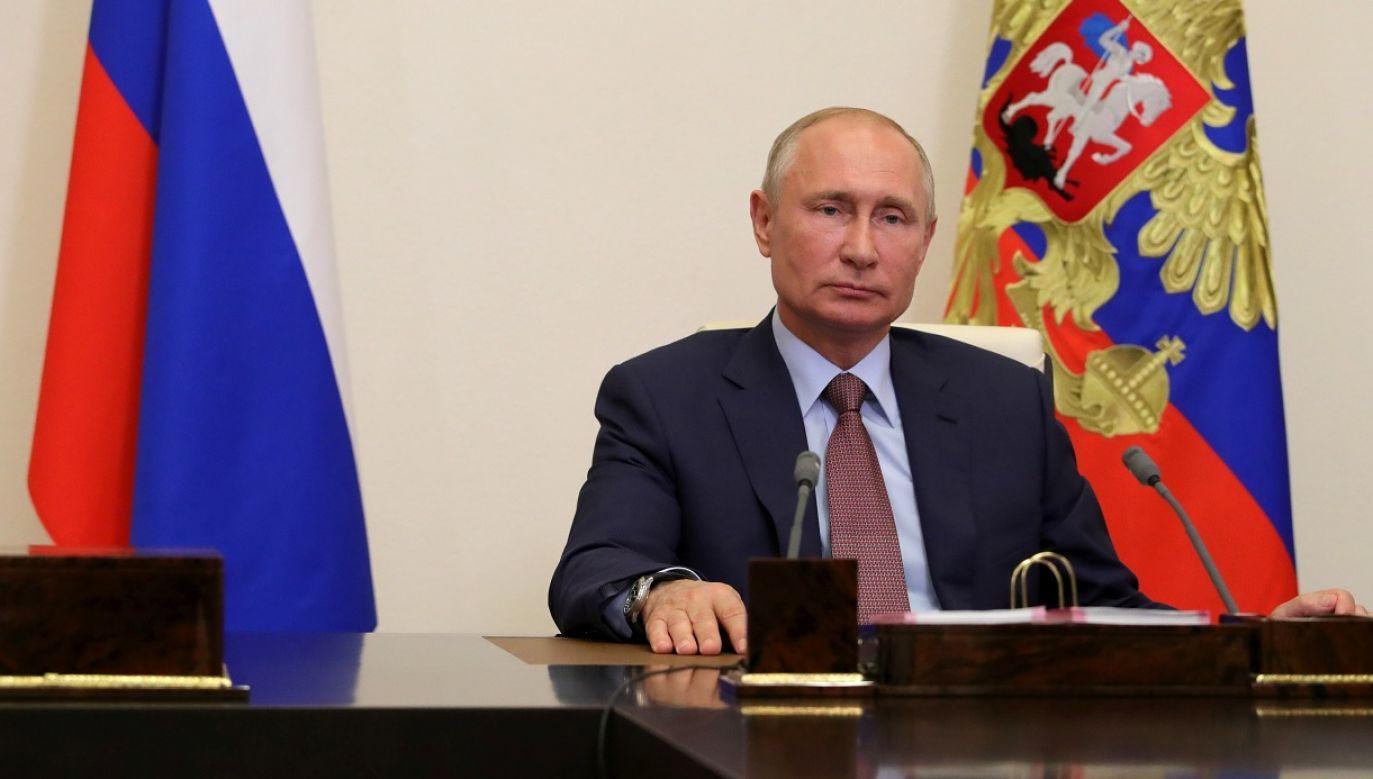 W walkę informacyjną przeciwko Polsce włączają się oficjalni przedstawiciele FR w tym Putin (fot. Mikhail Klimentyev/TASS via Getty Images)