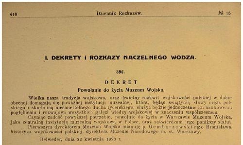 Dekret marszałka Piłsudskiego z 22 kwietnia 1920 r. powołujący do  życia Muzeum Wojska. Fot. archiwum Muzeum Wojska Polskiego