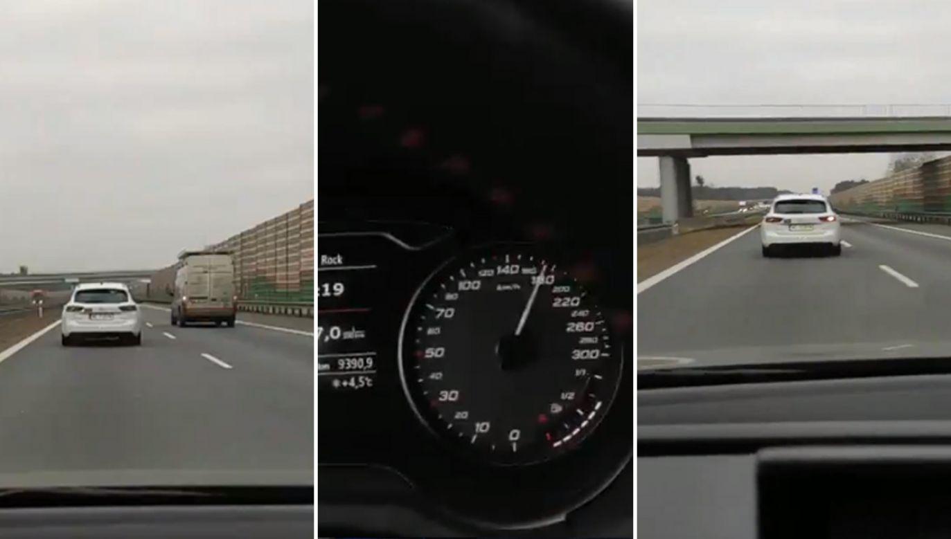 Wielu komentujących zauważyło, że kierowca jadący za ekipą TVP stanowił poważne zagrożenie na drodze (fot. Twitter/atic)