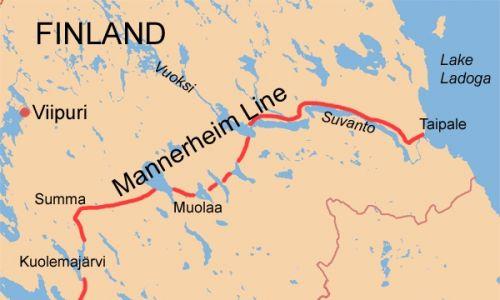 Przebieg umocnień Linii Mannerheima. Linia graniczna sowieckiego ultimatum terytorialnego przecinała fortyfikacje. Wikimedia Commons/User Jniemenmaa on en.wikipedia; CC BY-SA 3.0,