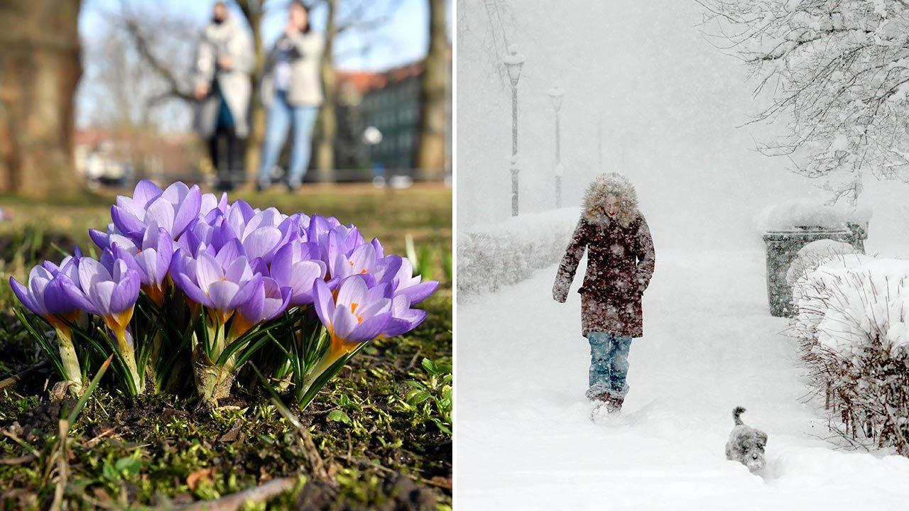 Zima nie powiedziała jeszcze ostatniego słowa (fot. PAP/Marcin Bielecki; Sergei Malgavko/TASS/PAP)