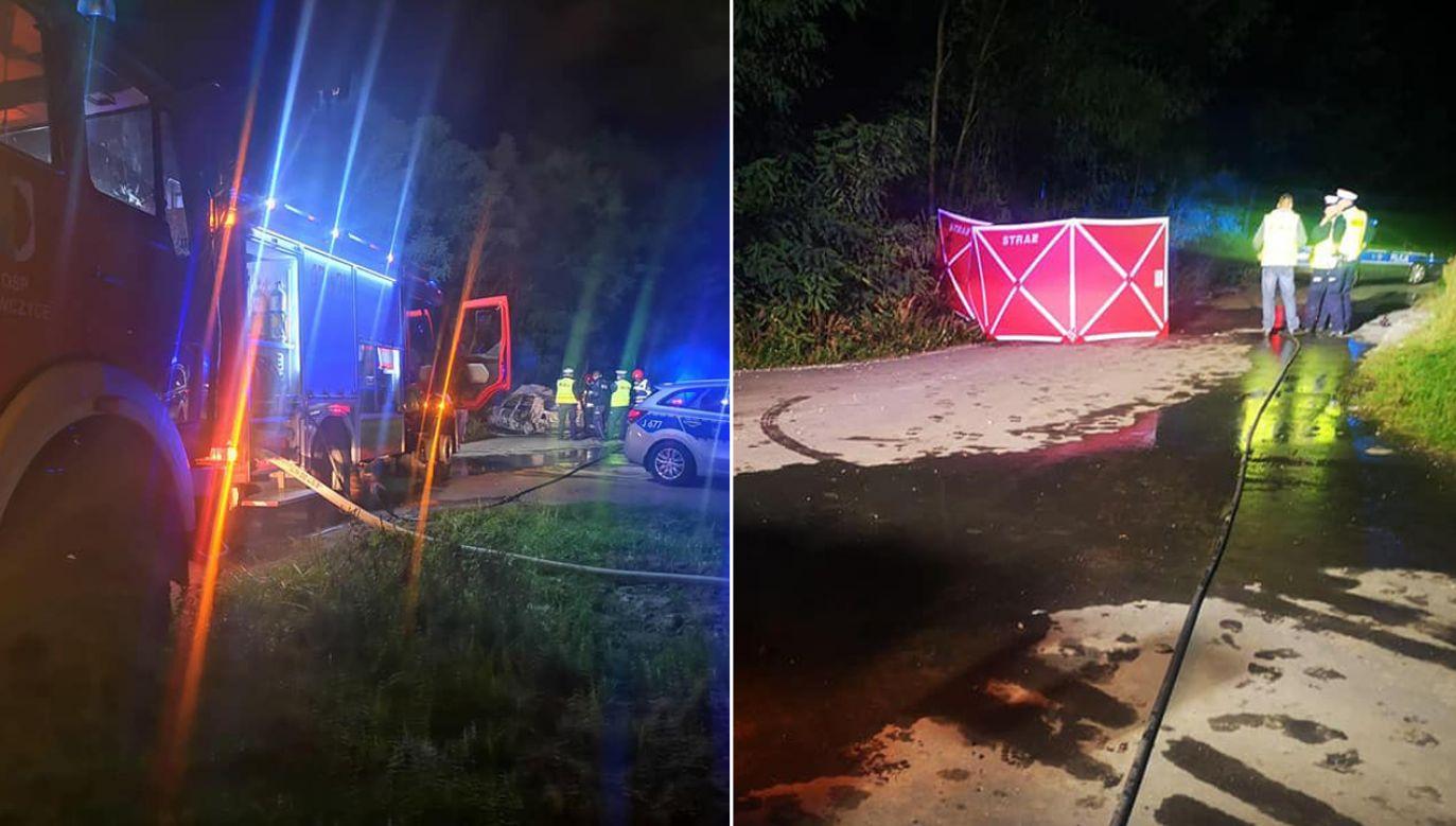 Na samochodzie nie znaleziono śladów wypadku (fot. FB/Oleskie Jednostki Pożarnicze)