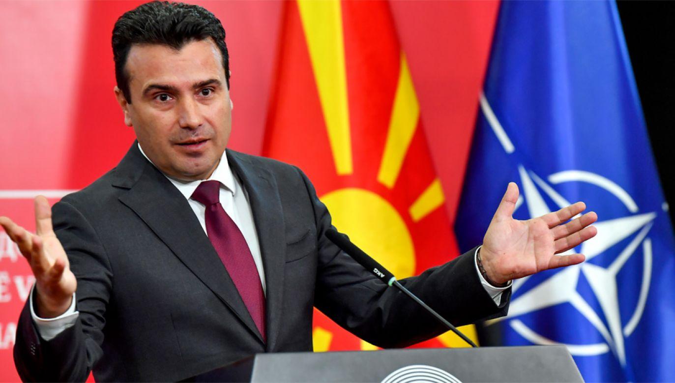 Premier Macedonii Północnej Zoran Zaew (fot. PAP/EPA/GEORGI LICOVSKI)