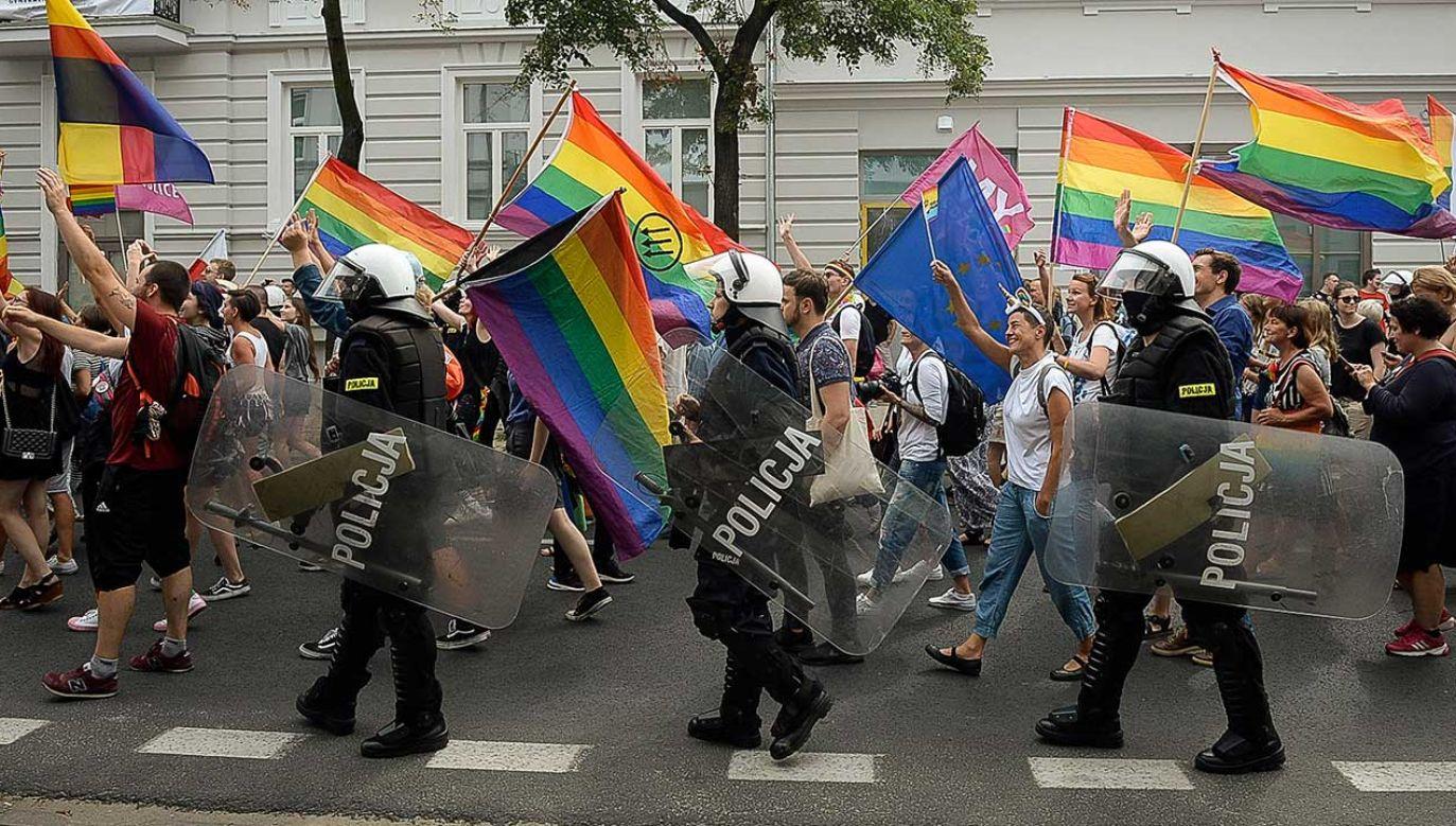 Marsz Równości – którego zakazał prezydent Gorzowa Wielkopolskiego – miał odbyć się w sobotę, 24 sierpnia (fot. arch. PAP/Wiktor Dąbkowski)