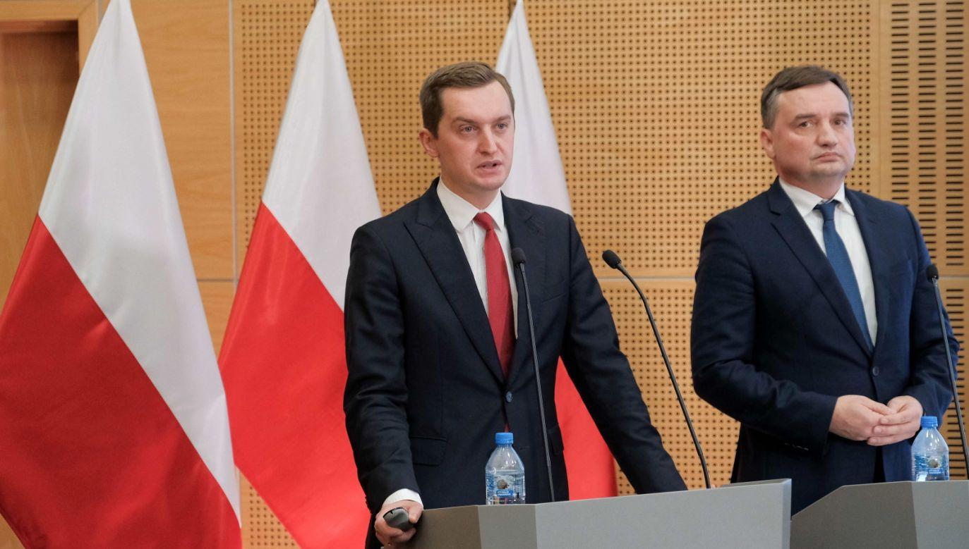 Wiceminister Sebastian Kaleta o decyzji TSUE (fot. PAP/Mateusz Marek)