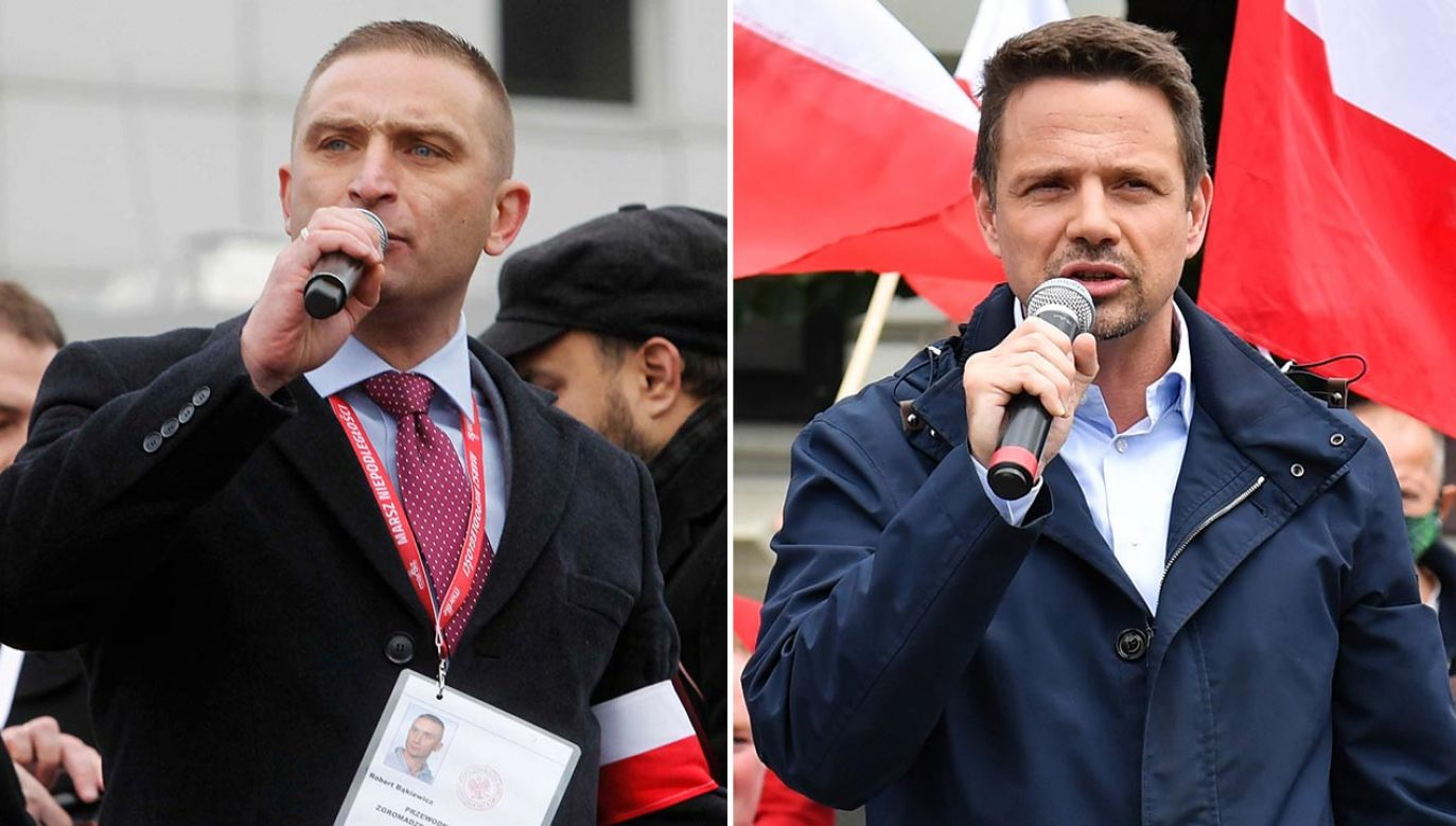 """Zdaniem Roberta Bąkiewicza, kandydat KO """"jest człowiekiem bardzo niebezpiecznym dla Polski"""" (fot. PAP/Wojciech Olkuśnik, Marcin Bielecki)"""