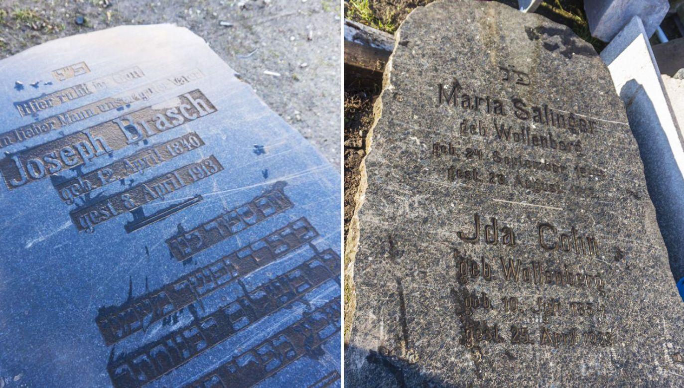 Uratowano dwie duże zabytkowe macewy – nagrobki z nieistniejącego już cmentarza żydowskiego (fot. Policja)
