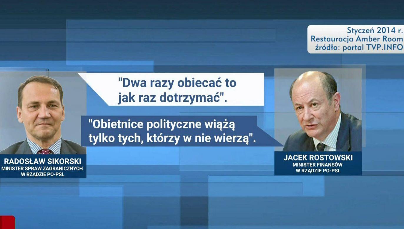 Nagrane w 2014 roku słowa polityków PO nt. dotrzymywania obietnic klladą się cieniem na partii (fot. TVP Info)