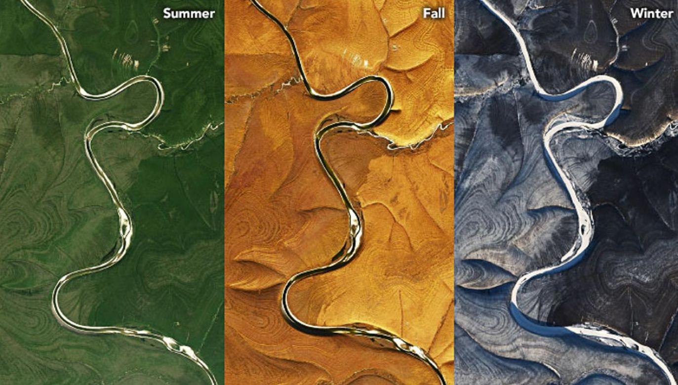 Pręgowana ziemia na Syberii. Wzór widoczny w każdej porze roku (fot.  NASA Earth Observatory/ Landsat 8)
