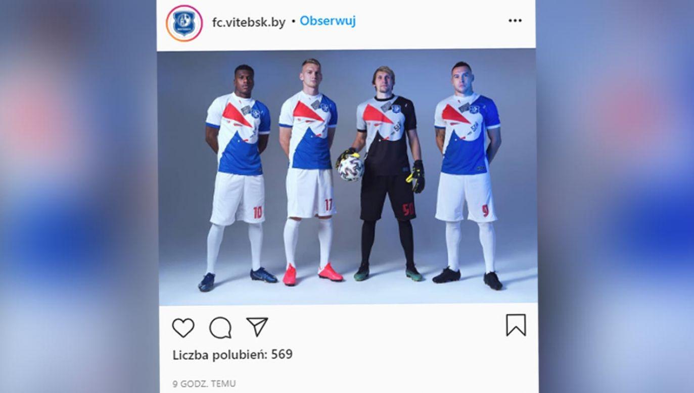 W takich strojach piłkarze Witebska zagrają w najbliższym meczu (fot. Instagram/fc.vitebsk.by)