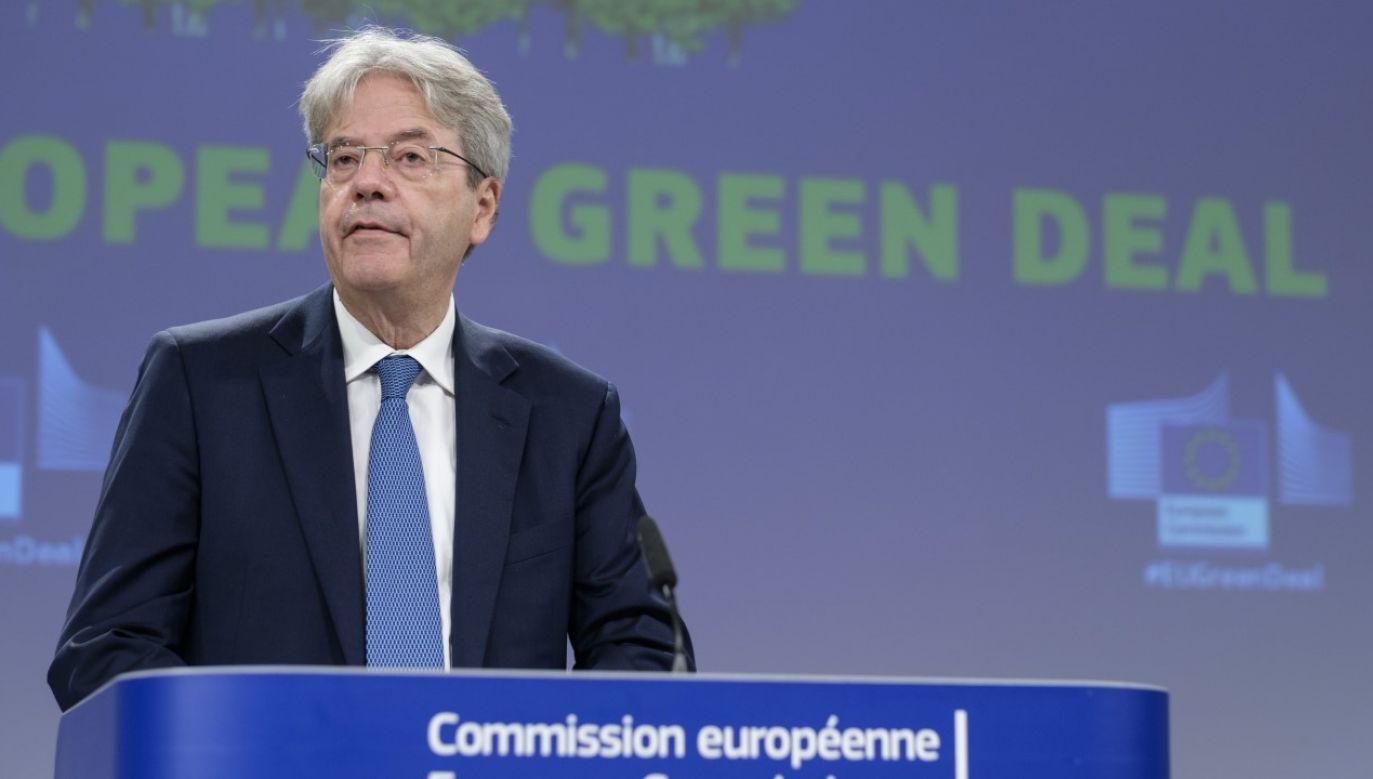 Komisarz UE ds. gospodarczych Paolo Gentiloni (fot. Thierry Monasse/Getty Images)