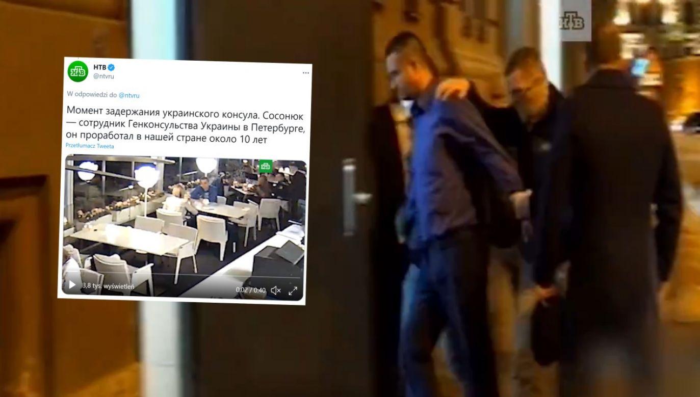 Stacja NTV pokazała moment zatrzymania pracownika konsulatu (fot. Twitter/@ntvru)