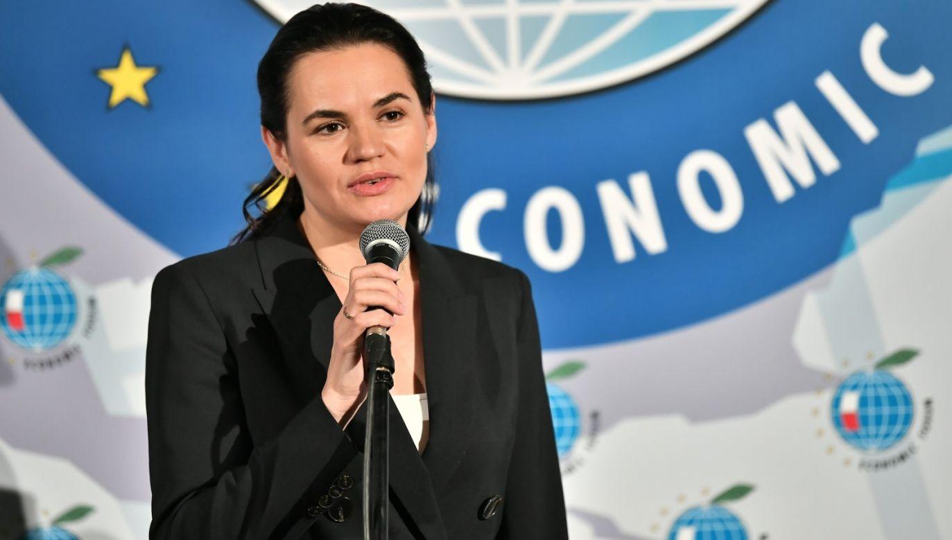 Liderka białoruskiej opozycji Swiatłana Cichanouska podczas ostatniego dnia Forum Ekonomicznego 2020 w Karpaczu (fot. PAP/Maciej Kulczyński)