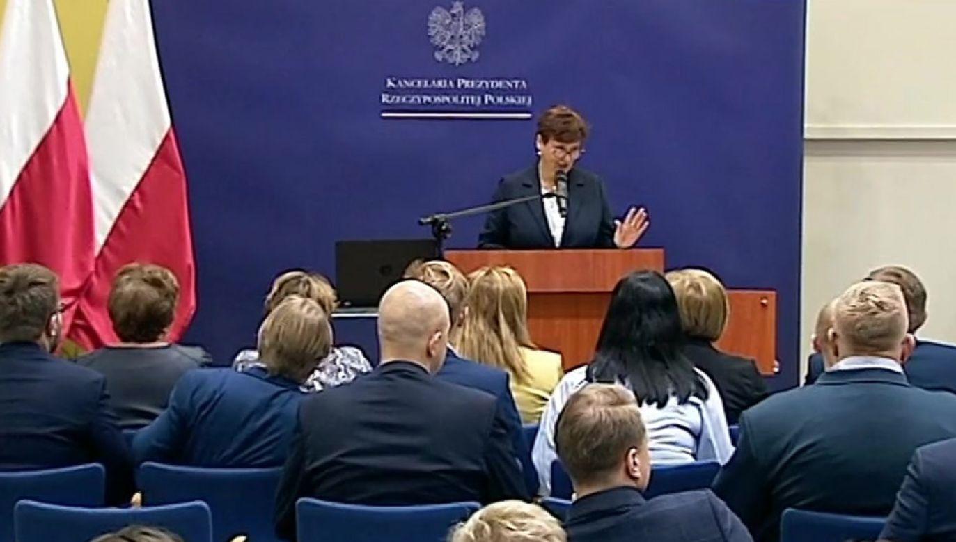 W spotkaniu wzięła udział szefowa kancelarii prezydenta Halina Szymańska (fot. TVP Info)