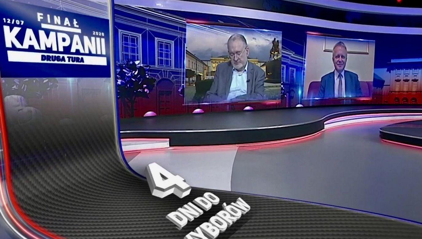 """W """"Finale kampanii"""" mówiono m.in. o drugim wypadku autobusowym w Warszawie (fot. TVP Info)"""