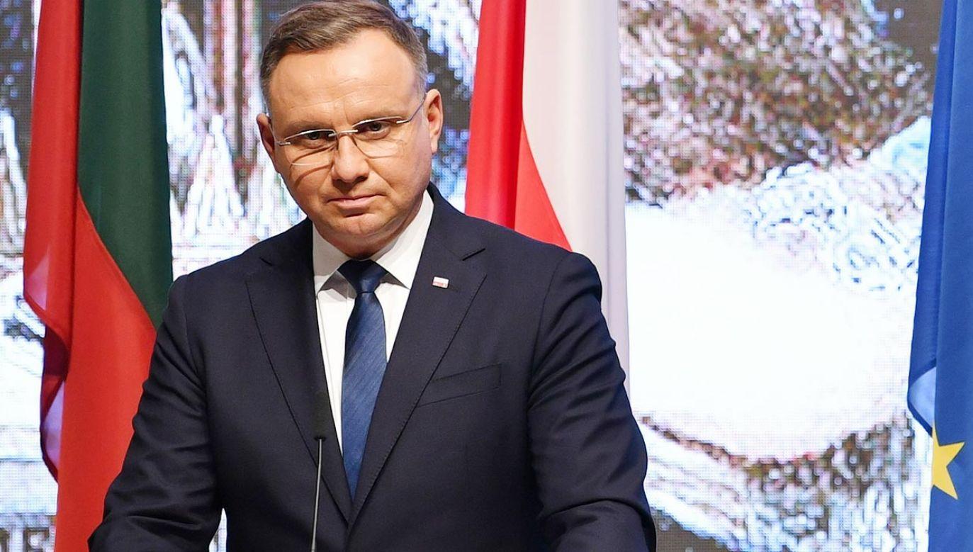 Prezydent Andrzej Duda na Litwie (fot. PAP/Radek Pietruszka)