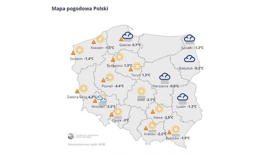 Mapa pogodowa Polski - 03.03.2021, godzina 06:00 (fot. IMGW)
