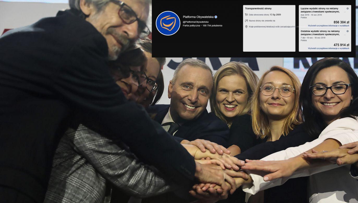 Pół miliona Koalicja Europejska wydała na facebookowe reklamy w całej wiosennej kampanii do PE. Teraz podobne środki wystarczyły na siedem dni (fot. PAP/Tomasz Gzell/FB/Platforma Obywatelska)