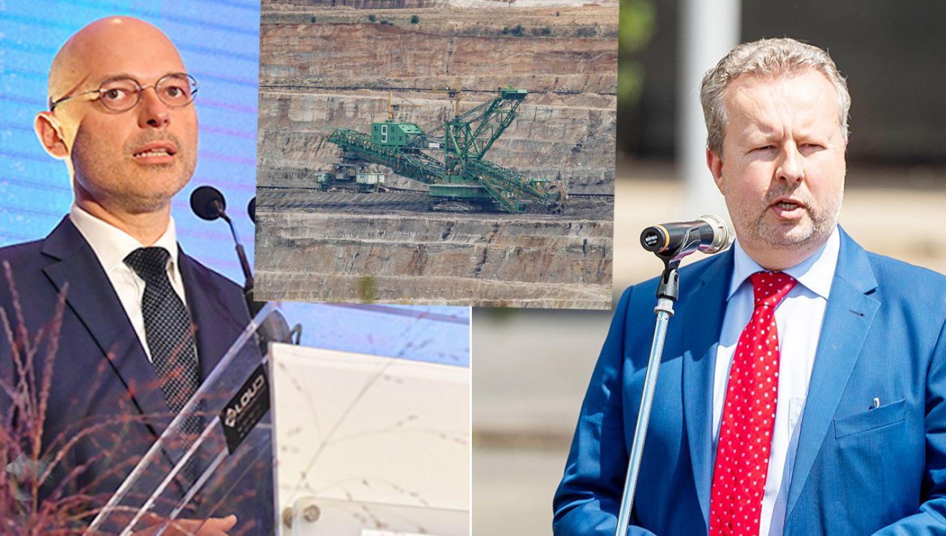Ministrowie Michał Kurtyka i Richard Brabec rozmawiali ws. kopalni Turów (fot. PAP/Piotr Nowak, Aleksander Koźmiński, CTK)
