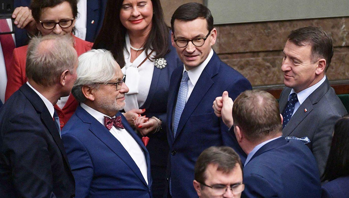 Premier został też zapytany o złożony we wtorek w Sejmie projekt Lewicy (fot. PAP/Marcin Obara)