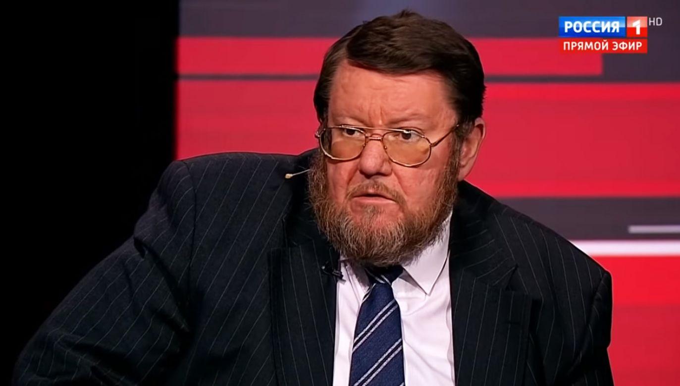Jewgienij Satanowski szokuje swymi tezami na temat Polaków (fot. YouTube/Evening with Vladimir Solovyov)
