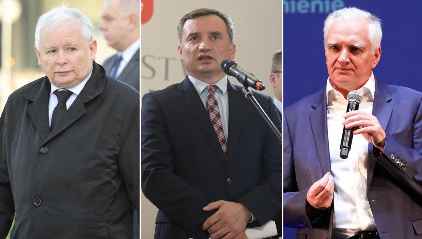 Liderzy Zjednoczonej Prawicy: Jarosław Kaczyński, Zbigniew Ziobro, Jarosław Gowin (fot. PAP/Radek Pietruszka, Marcin Obara, Tomasz Gzell(