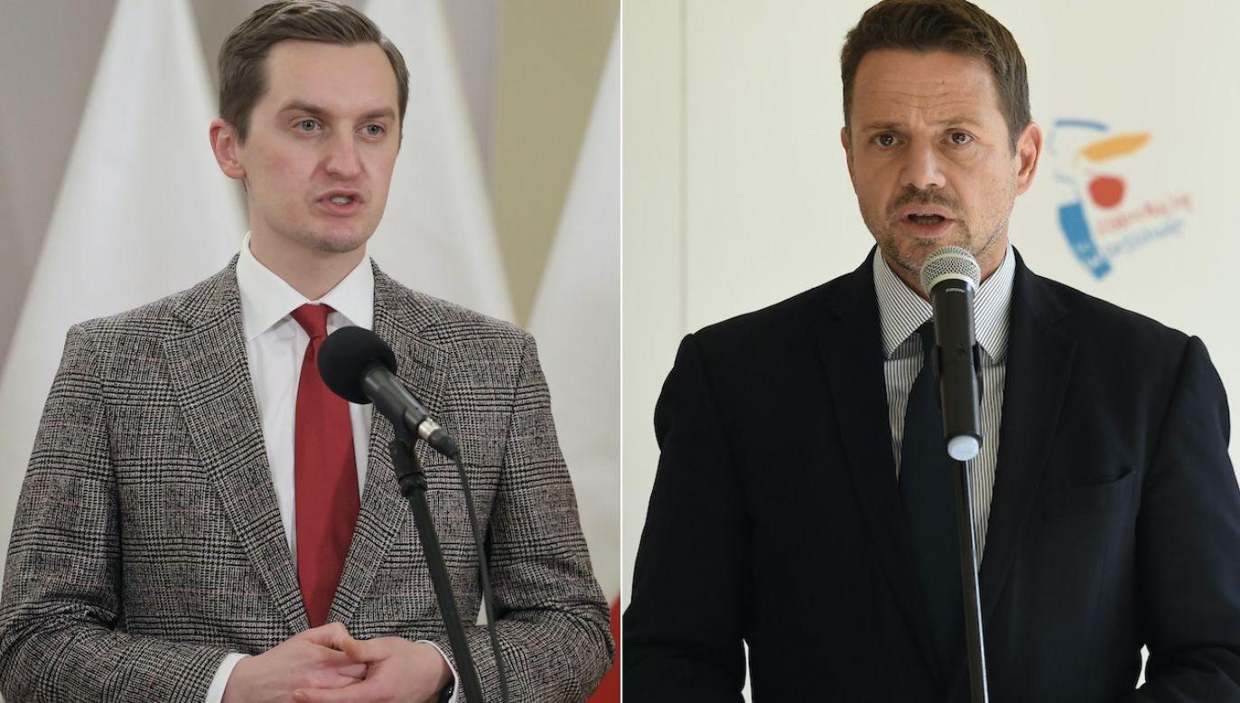 Reprywatyzacja w Warszawie. Sebastian Kaleta i Rafał Trzaskowski (fot. arch.PAP/P.Nowak/P.Supernak)