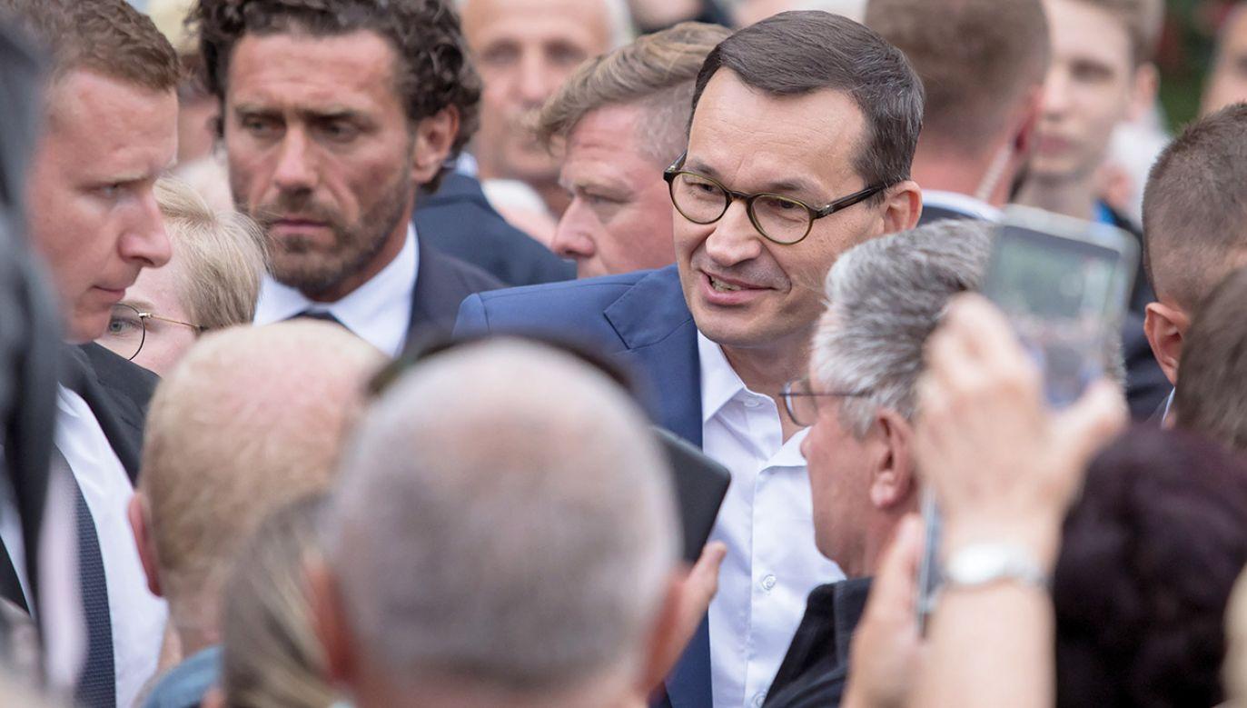 Mateusz Morawiecki spotkał się z wyborcami w Świdniku (fot.  PAP/Wojtek Jargiłło)
