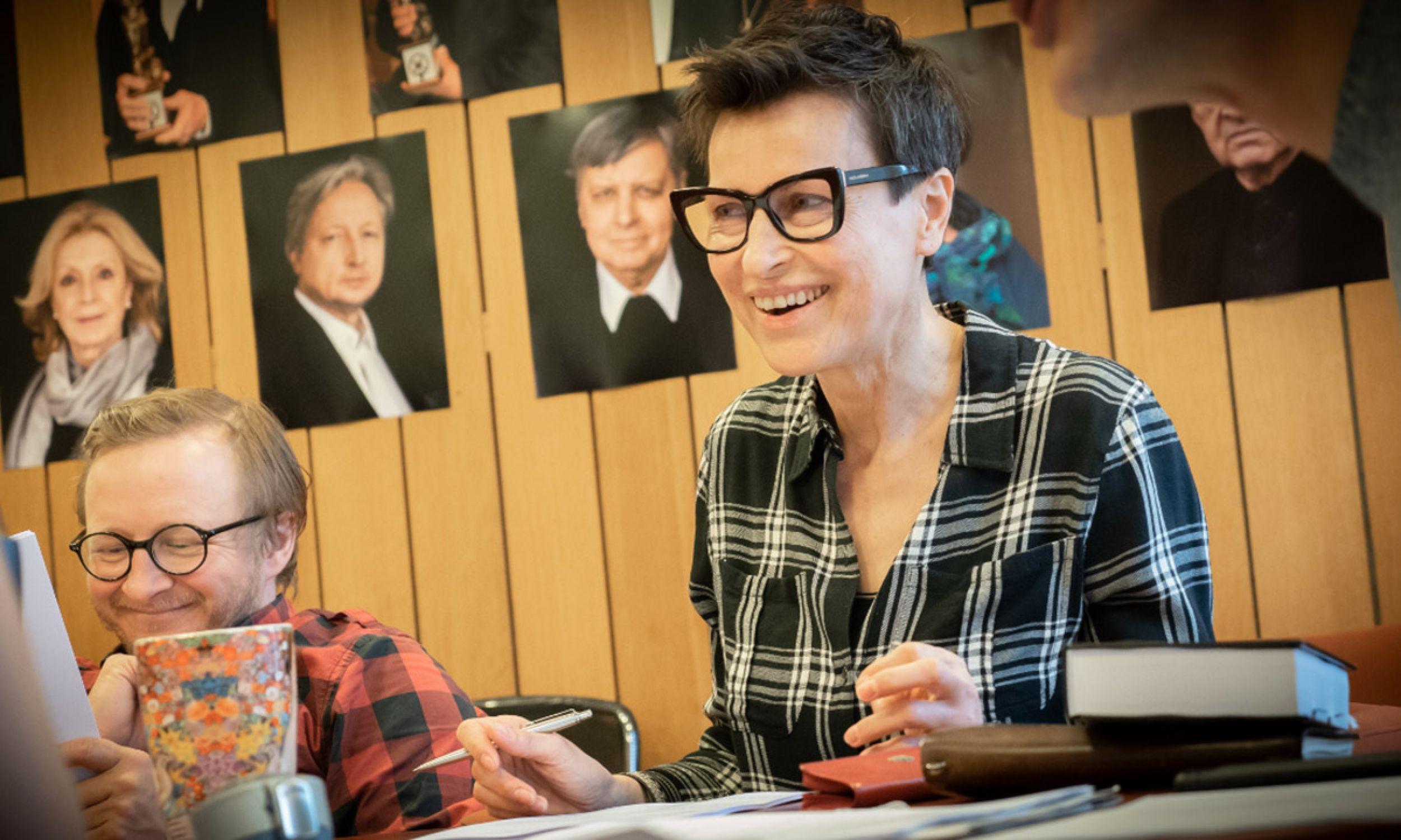Łukasz Lewandowski i Danuta Stenka podczas prób do słuchowiska