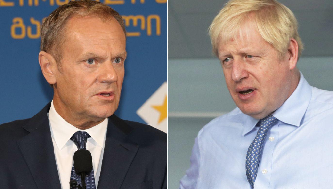 Johnson napisał do Tuska, że chciałby zastąpienia backstopu  (fot. Davit Kachkachishvili/Anadolu Agency/Getty Images, PAP/EPA/SIMON DAWSON / POOL)