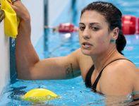 Stephanie Rice (Australia) niezadowolona po zajęciu 4. miejsca w finale 200 metrów stylem zmiennym (fot. Getty Images)
