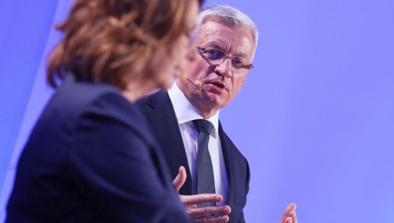 Wicemarszałek Sejmu Małgorzata Kidawa-Błońska (L) oraz prezydent Poznania Jacek Jaśkowiak (P) podczas debaty prawyborczej w PO (fot. PAP/Paweł Supernak)
