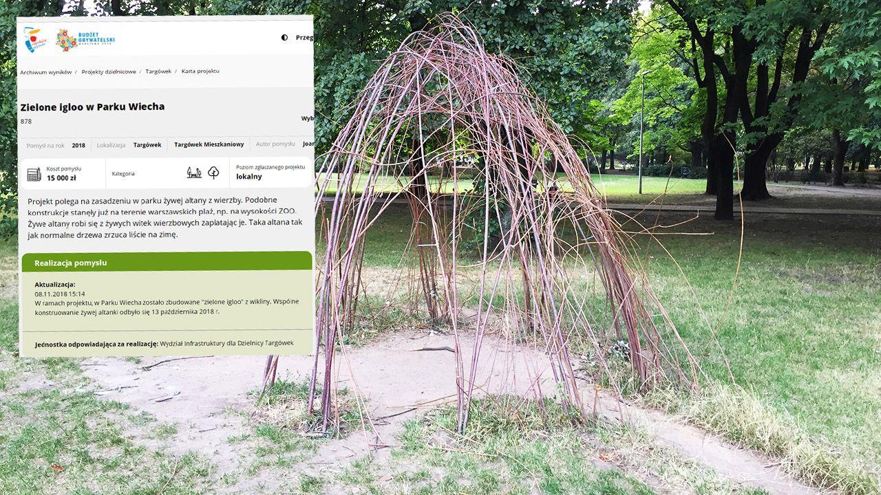 """Zielone igloo miało """"cieszyć mieszkańców przez cały rok"""". Tak wygląda obecnie (fot. portal tvp.info)"""
