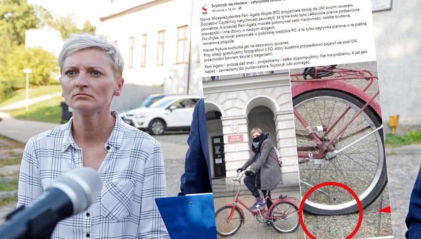 Wiceprezydent Agata Wojda przyjechała do pracy rowerem z nienapompowanym kołem (fot. PAP/Piotr Polak; Facebook/Scyzoryk się otwiera - satyryczna strona Kielc)