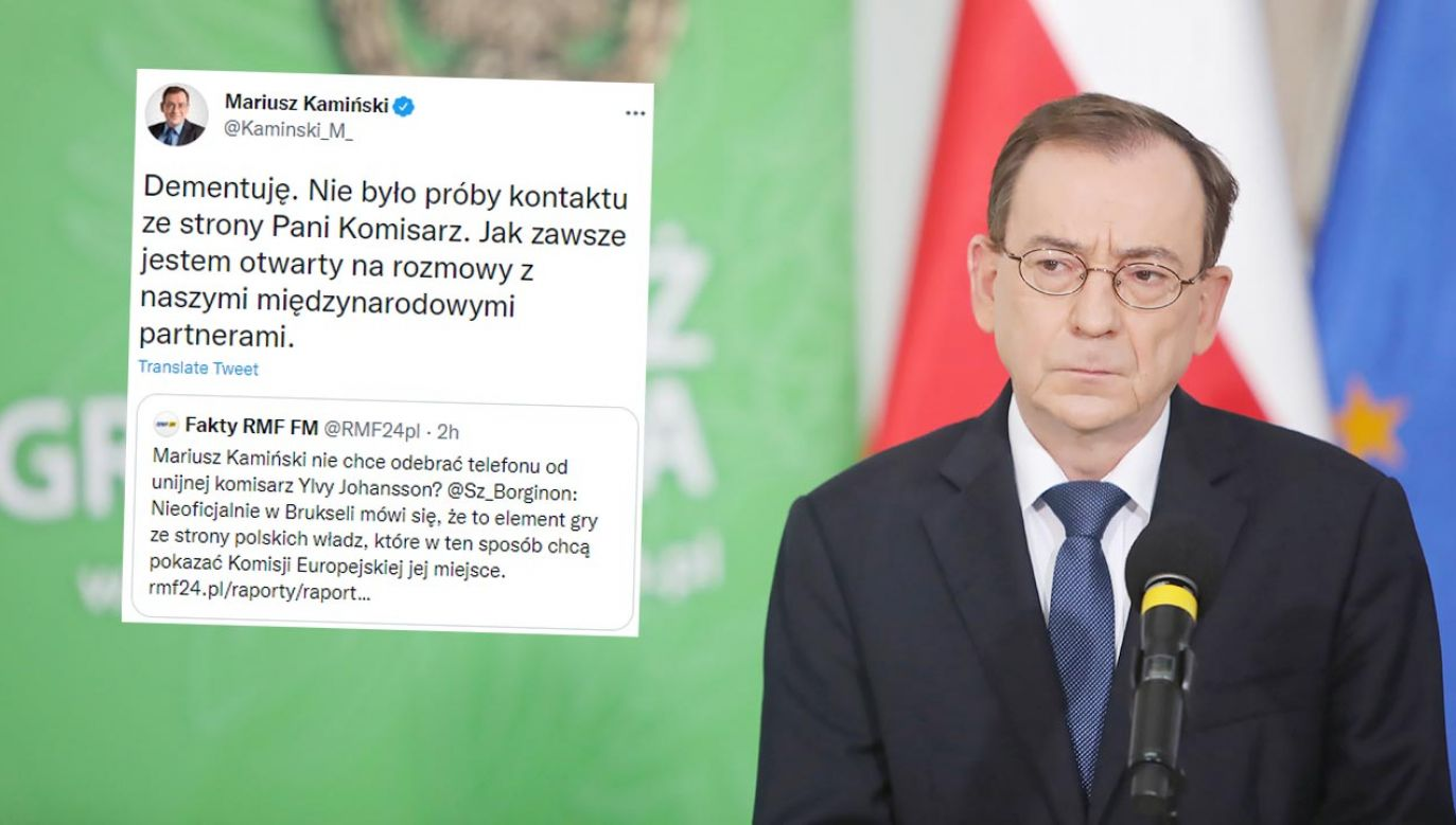 Mariusz Kamiński ma rozmawiać o kryzysie na granicy polsko-białoruskiej (fot. PAP/Wojciech Olkuśnik)