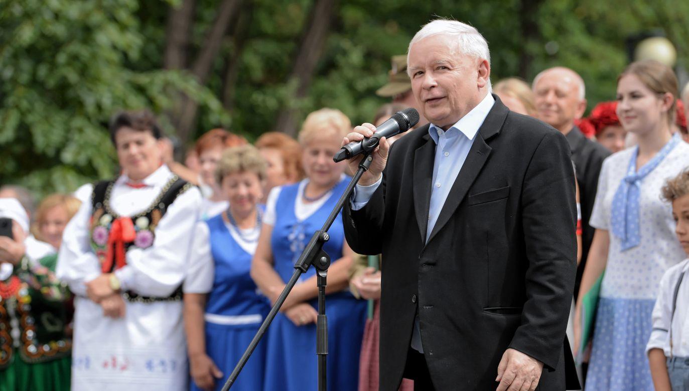 Lider PiS Jarosław Kaczyński podczas pikniku rodzinnego w Stalowej Woli (fot. PAP/Darek Delmanowicz)