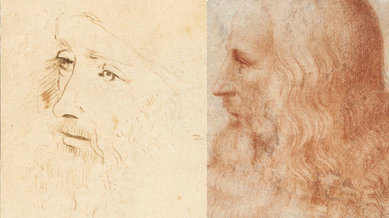 Fragmenty rysunków z Kolekcji Królewskiej: szkic zidentyfikowany ostatnio jako portret Leonarda, wykonany za jego życia przez asystenta (L) oraz jedyny znany dotąd wizerunek artysty z Vinci, niebędący autoportretem i wykonany za jego życia; autorem jest uczeń mistrza – Francesco Melzi (fot. PAP/EPA/ROYAL COLLECTION TRUST / © Her Majesty Queen Elizabeth II)