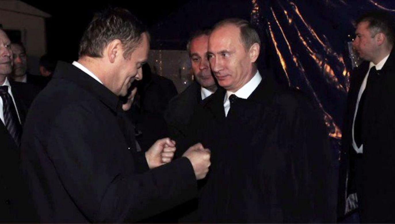 Donald Tusk i Władimir Putin 10 kwietnia 2010 r. w miejscu katastrofy smoleńskiej (fot. KPRM)