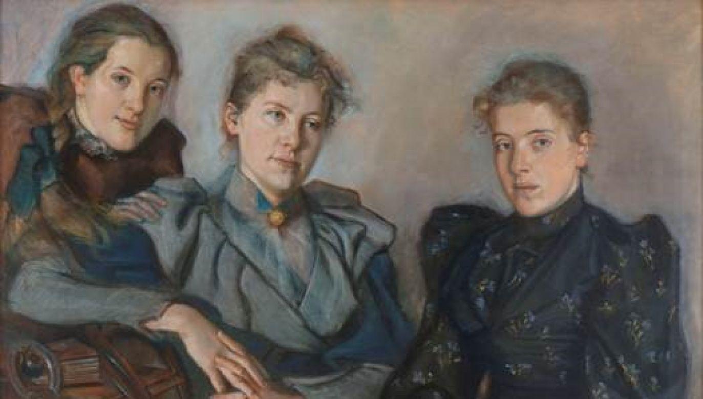 Pastel przedstawia Marię, Jadwigę i Annę, córki Wacława Michała Bobra, który był zarządcą majątku hr. Józefa Szembeka w Porębie Żegoty (fot. Muzeum Narodowe w Krakowie)
