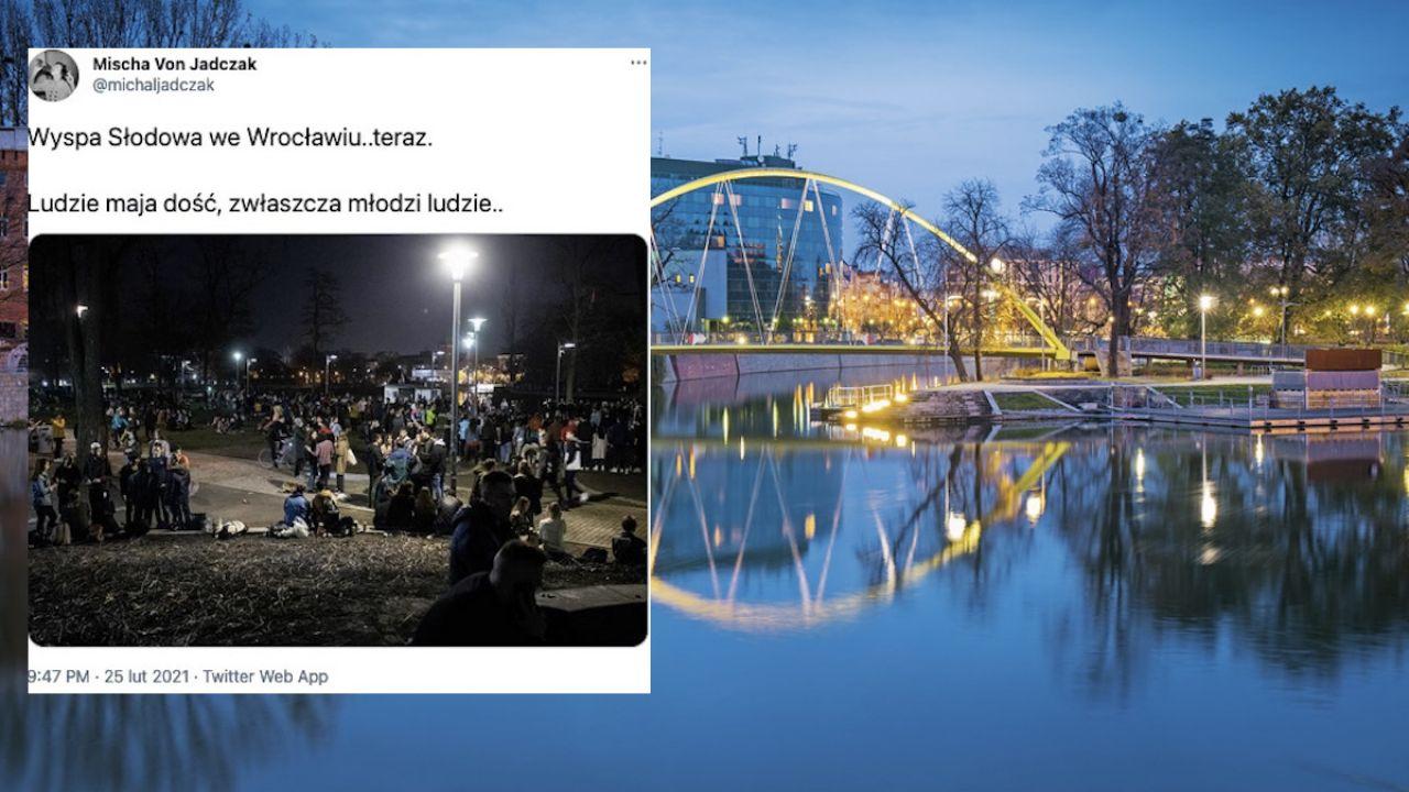 Ludzie bawili się na Wyspie Słodowej we Wrocławiu (fot. Shutterstock/Pani Garmyder, tt/@michaljadczak)