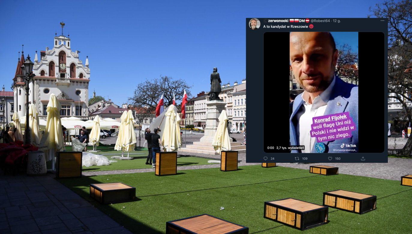 Rzeszów. Słowa Konrada Fijołka zaskoczyły internautów (fot. PAP/Darek Delmanowicz, Twitter.com/Robest64)