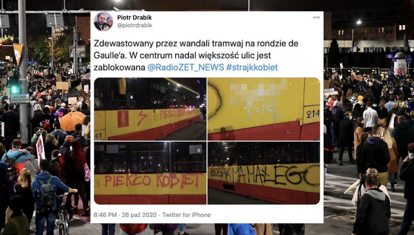 Zdewastowane tramwaje w Warszawie po manifestacji zwolenniczek aborcji (fot. tt/@piotrdrabik, PAP/Maciej Kulczyński)